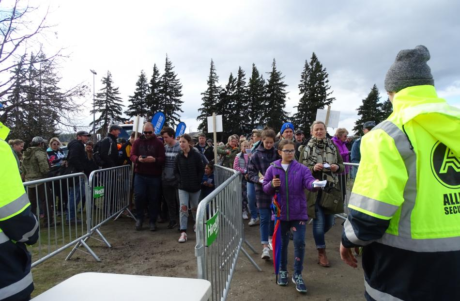 People lined up to get into the game at the Wanaka Showgrounds. Photos: Kerrie Waterworth