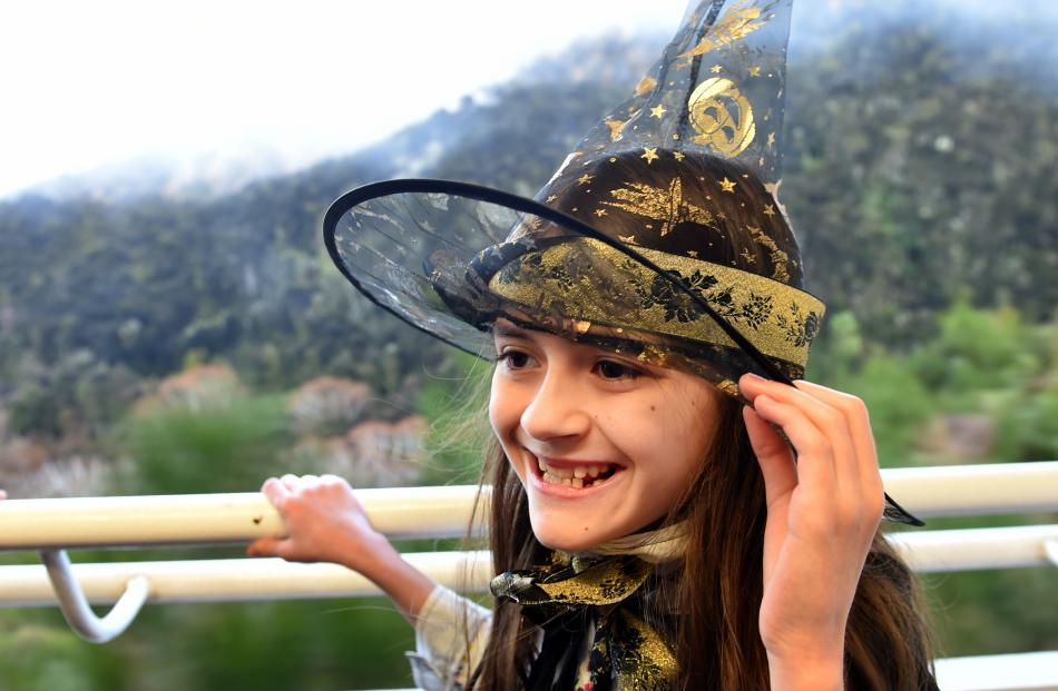 Holding on to her witch's hat is Uma Reid (10), of Dunedin.