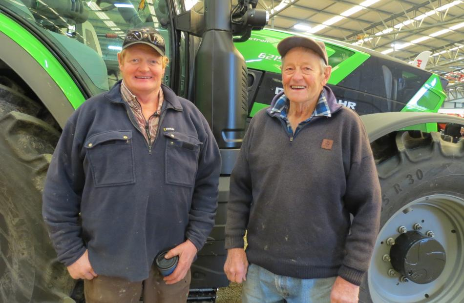 Enjoying an afternoon out at the Power Farming professional equipment expo at Waimumu on July 17 are Garry Ross (left) and his father Len Ross, both of Gore. Photos: Peter McIntosh