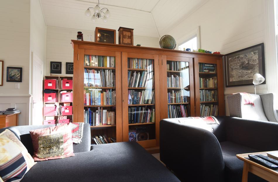 The kauri bookcase that separates the living area from the study was originally in the Hillside...