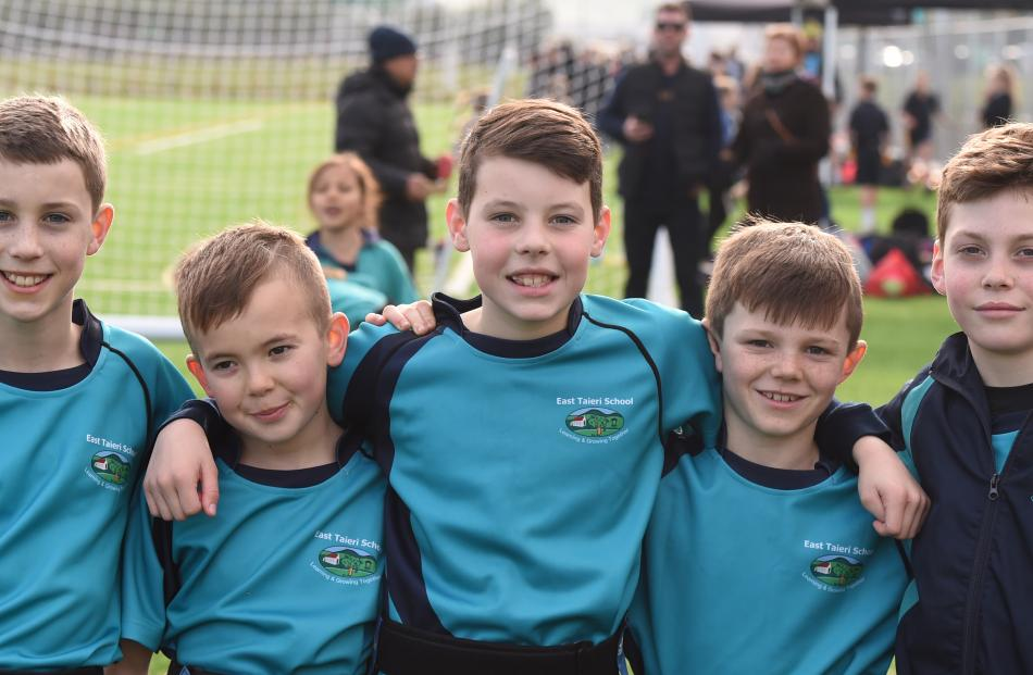 East Taieri School pupils (from left): Van Couch (10), Hunter Compton (11), Luke Ritchie (10),...