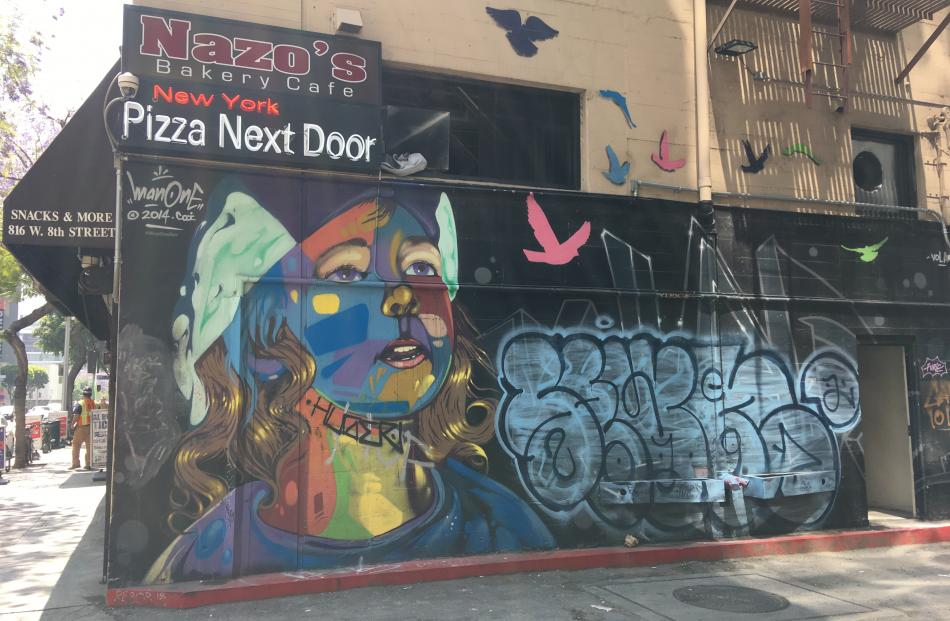 Street art brightens corners of downtown Los Angeles. PHOTOS: PAM JONES
