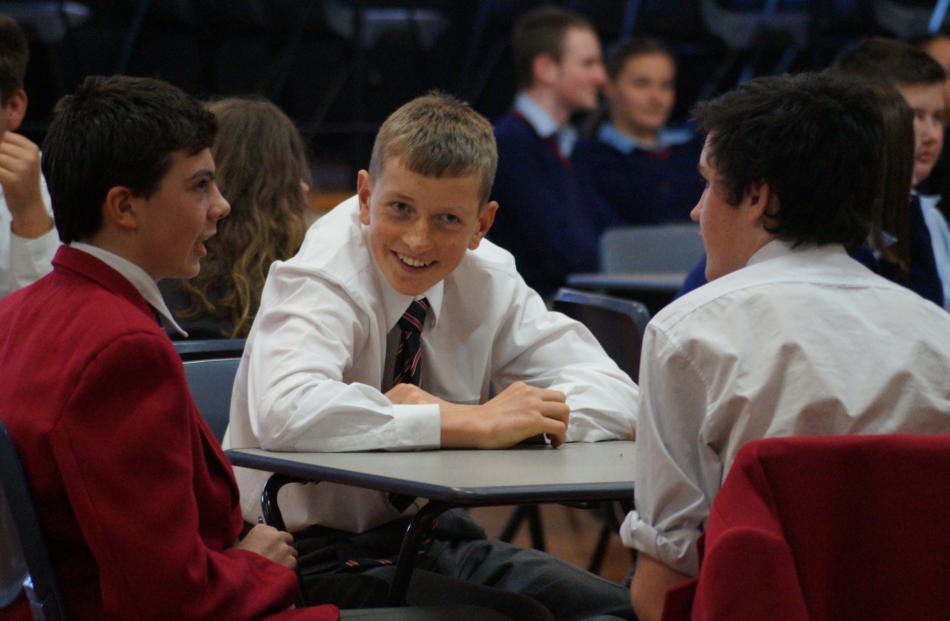 Waitaki Boys' pupils (from left) Rory McLeod (14), Will Plunket (14) and Jarod Kelly (15) enjoy...