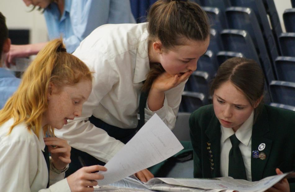 Craighead Diocesan School team (from left) Kate Harrison (13), Lucy Murphy (14) and Abby Lowe (14...