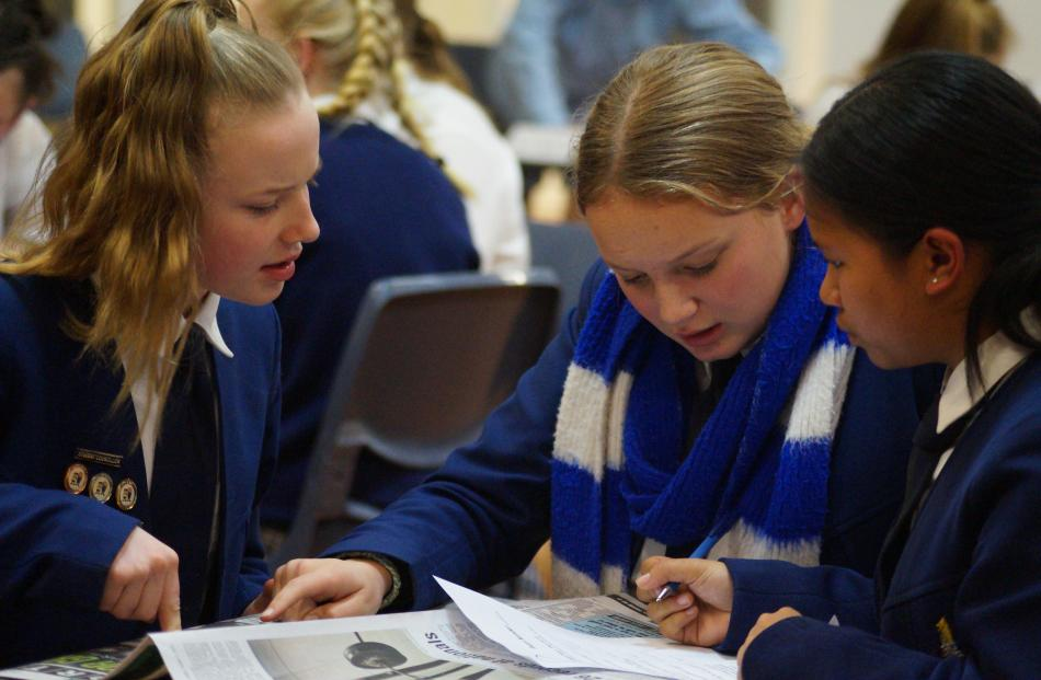 Timaru Girls' High School pupils (from left) Jayda Prue (14), Makayla Low (15) and Charlize...