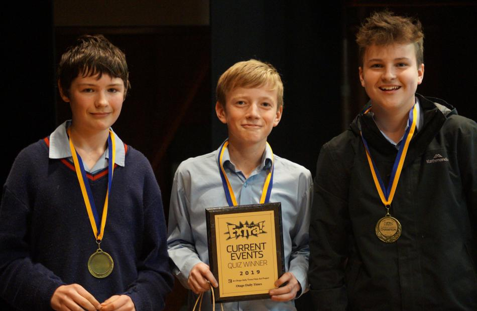 Ashburton College pupils (from left) Max Clarke, Sam Orr and Seb McMillan (all 13) claimed first...