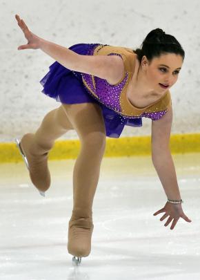 Jorja Stade, of the Alexandra Ice Skating Club, is in control at the Dunedin Ice Stadium...