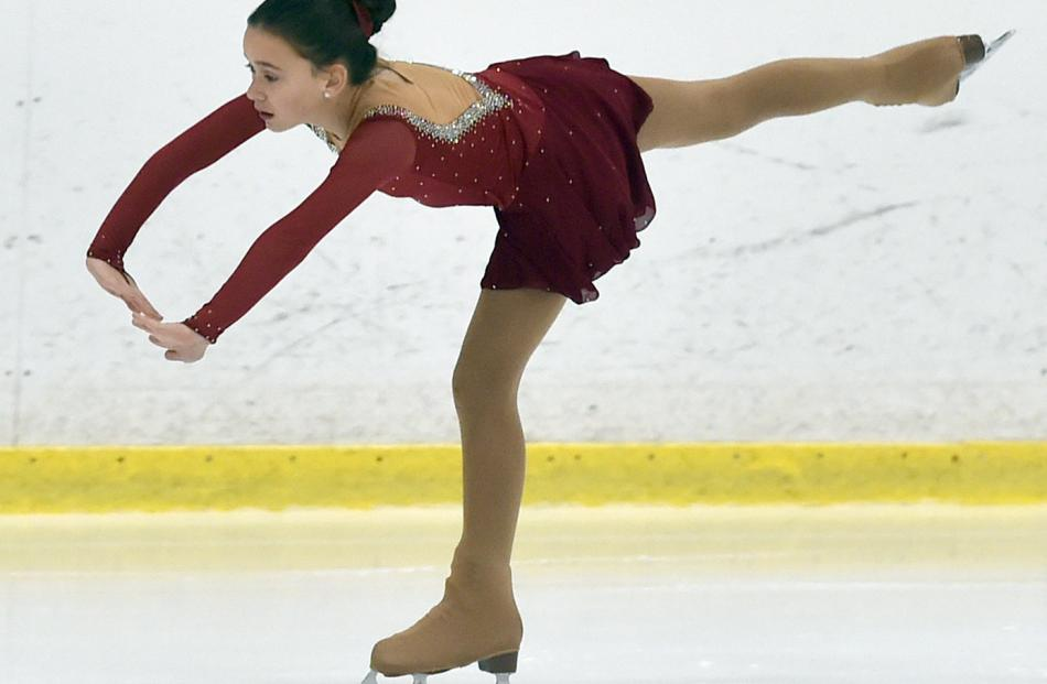 Sorayah Morris, of the Centaurus Ice Skating Club in Christchurch, demonstrates her skill.