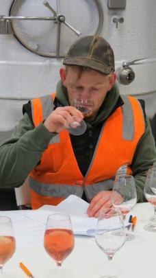 Winner Ben Tombs, of Peregrine Wines, takes part in the tasting.