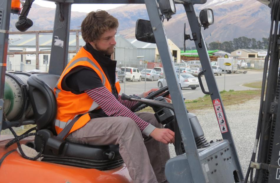 James Dobbs, of Rippon Vineyard, showcases his forklift skills.