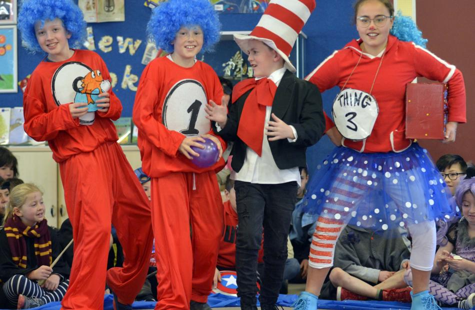 Taking inspiration from the Dr Seuss classic The Cat in the Hat are (from left) Noah Hamilton...