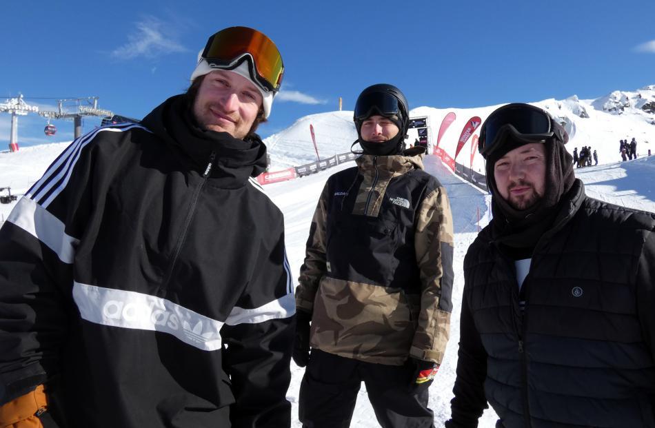 Jack Spence, of Wellington, Helden Pedersen, of Wanaka, and Stefan Godman, of Wanaka.