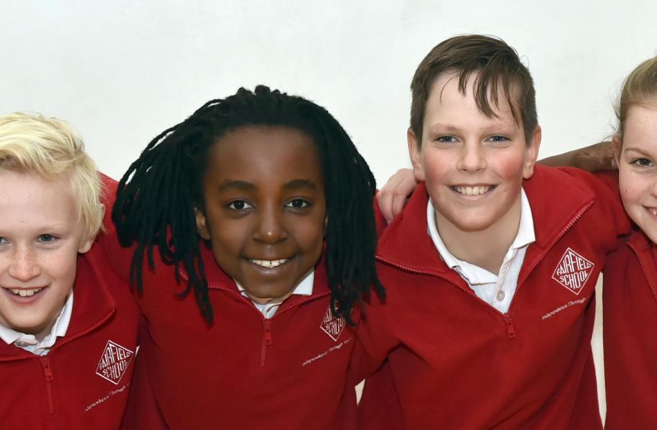 Fairfield School pupils Dan Kelleher (11), Ega Mackenzie (10), Reuben Huggins (11) and Petra Gray...
