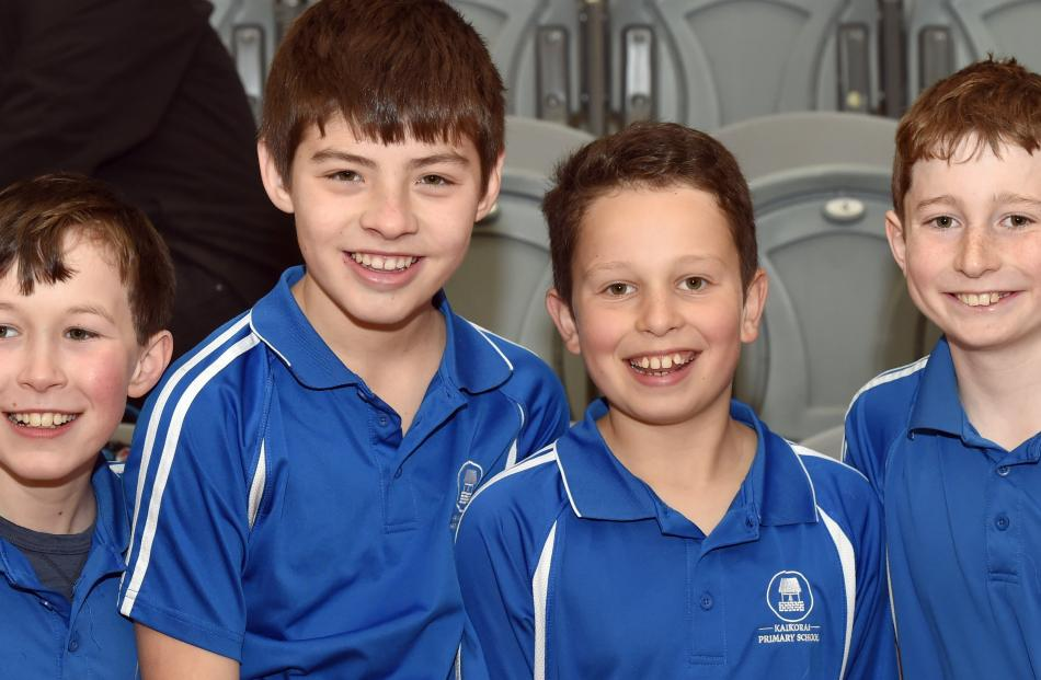 Kaikorai Primary School pupils Dominic Mein, Johnny Kaan, Conor McIntyre and William Cameron (all...