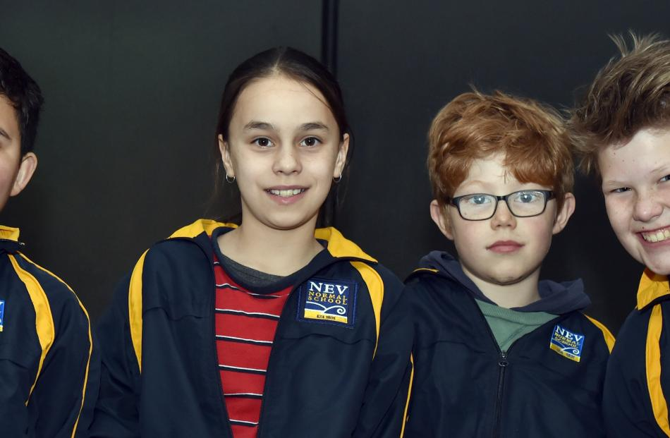 North East Valley Normal School pupils Jury Wirihana (10), Abigail Matthews (10), Max Bryant (10)...