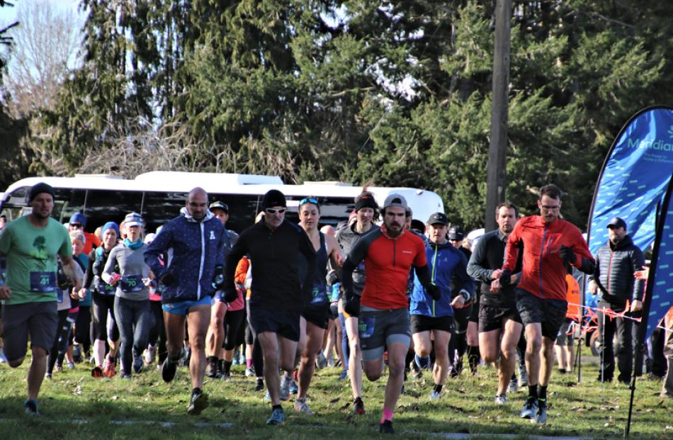 "The starting line of the inaugural Meridian Hydro Half Marathon on Fiordland's ""Lake2lake Trail""..."