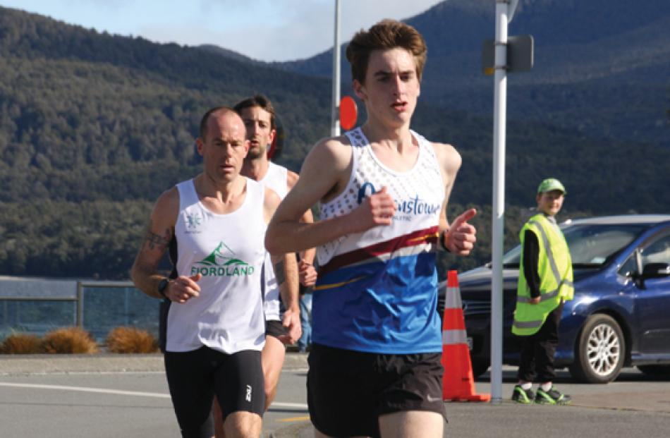 U18 Contender Aleks Cheifetz  of Queenstown in the lead at the corner of the second lap with...