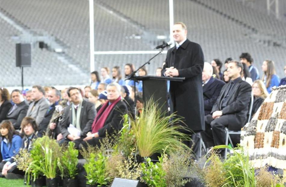 Prime Minister John Key speaks. Photo by Craig Baxter.