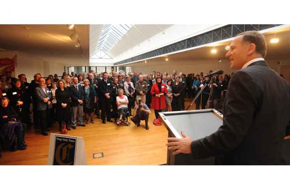 John Key addresses the crowd.