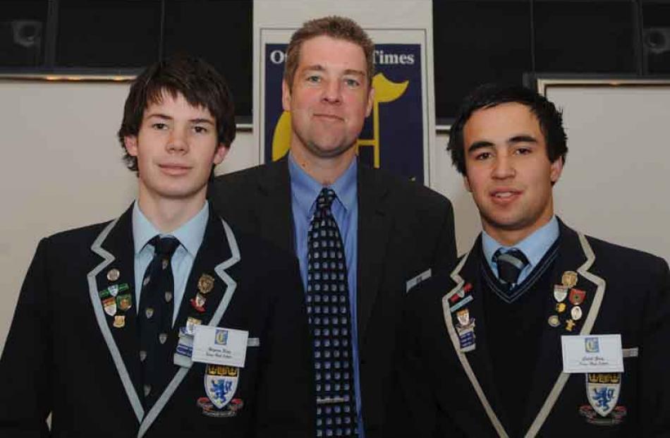 Hayden King, principal Dan Reddiex and Caleb Gray, all of of King's High School.