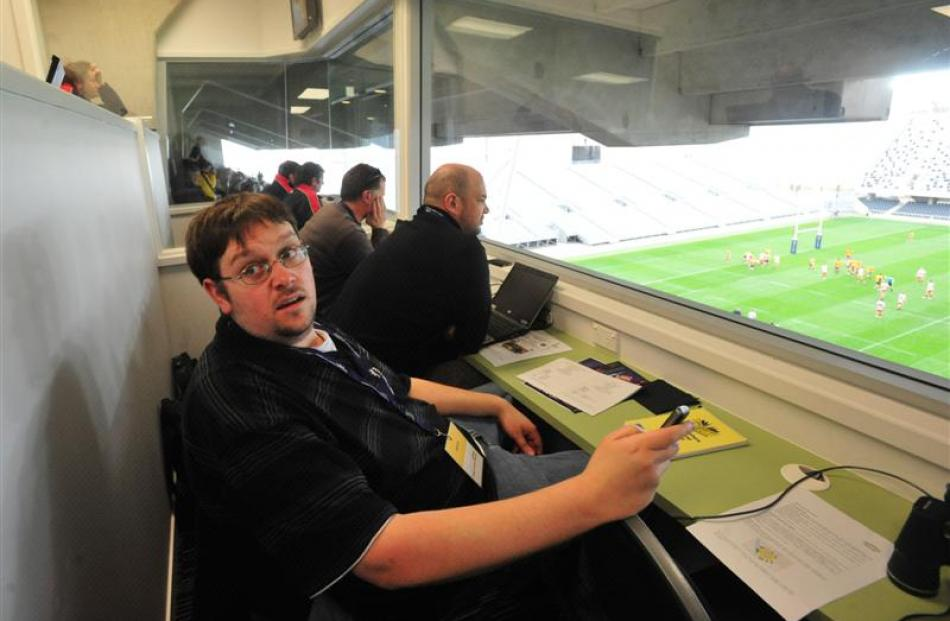 Hayden Meikle watches from the media box.