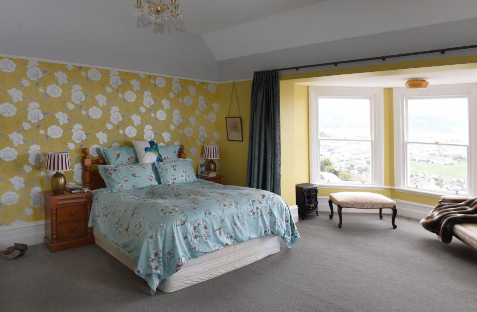The spacious master bedroom in on the first floor.
