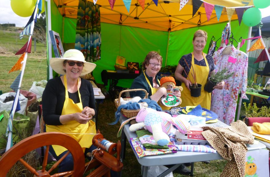 Selling craft items (from left) are Jenny Barnett, of Dunback, Fiona Skevington, of Palmerston,...