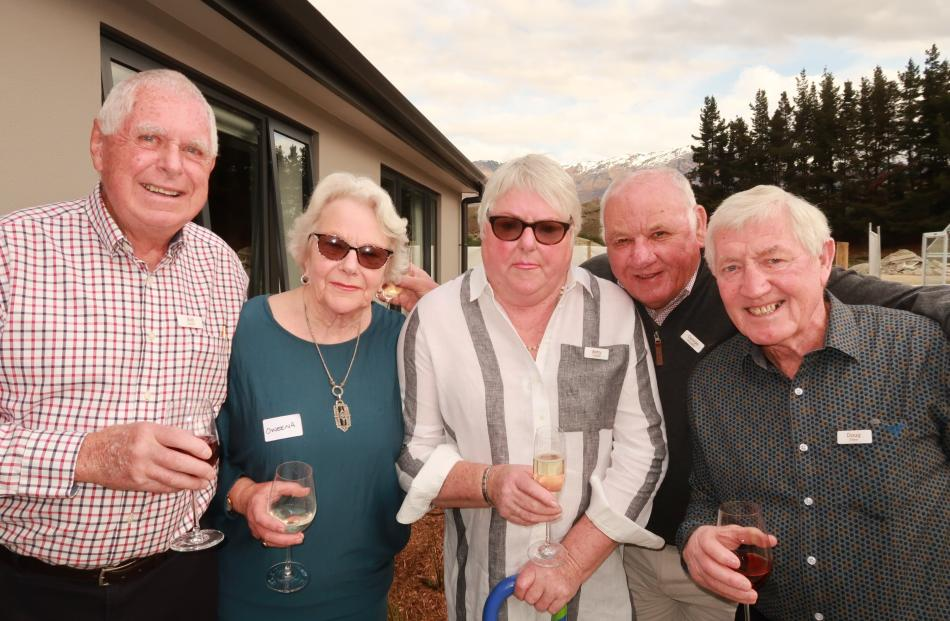 Bob Farrell, Oweena Frew, Betty Frizzell, George Douglas and Doug Frew, all of Arrowtown.