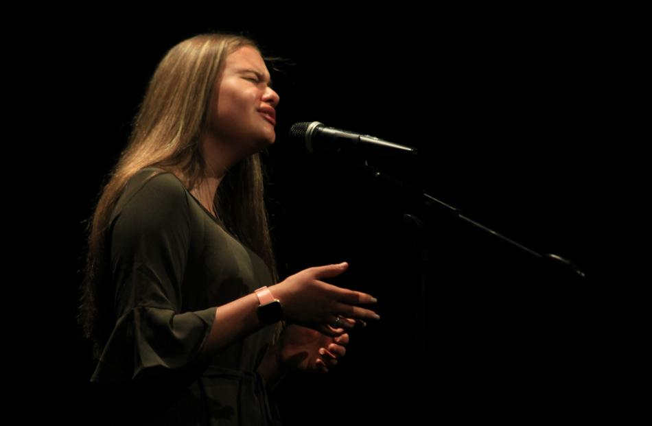Bella Phillips sings at ''Made in the Waitaki'' at the Oamaru Opera House on Thursday night....