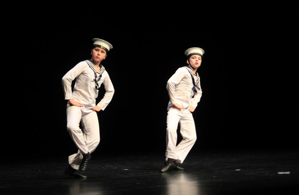 Isla Selfe (left) and Lucy Mavor dance a sailor's hornpipe.