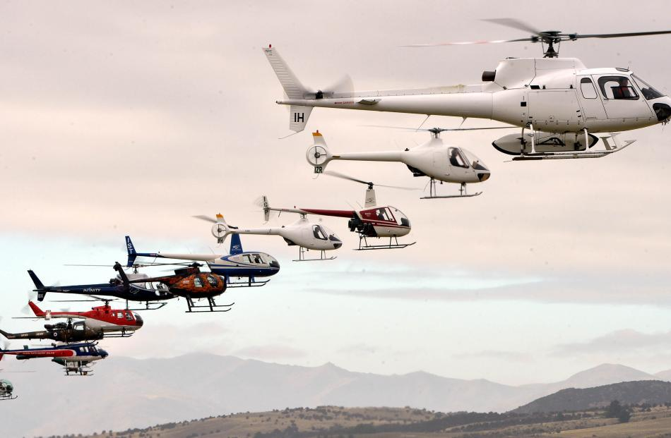 Helicopters line up for their display at 2016 airshow