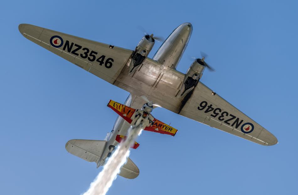Two-times World Aerobatic champion Jurgis Kairys flies his small Juka aerobatic aircraft around...