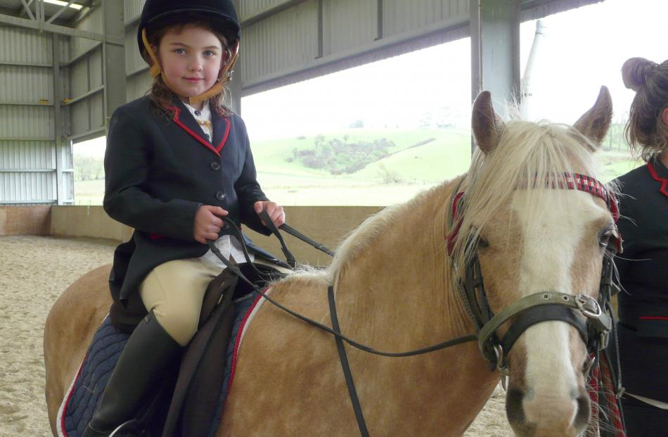 Grace Cameron (6), of Mokoreta, waits for her turn during the Have a Go Show.
