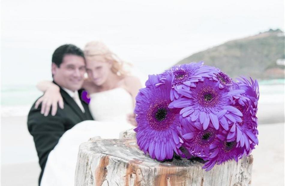 The bouquet of Amy Edwards, who celebrated her marriage to Regan Turoa at Dunedin Botanic Gardens...