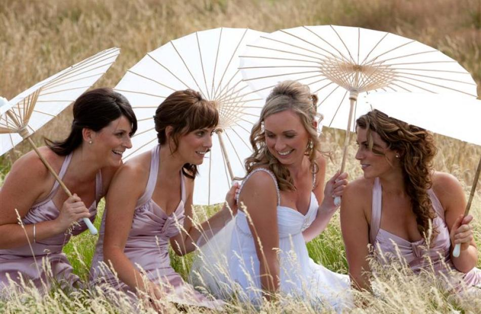Bronwyn Simpson who married Jacob Agnew in Wanaka in January, with her bridesmaids. Photo by Lisa...