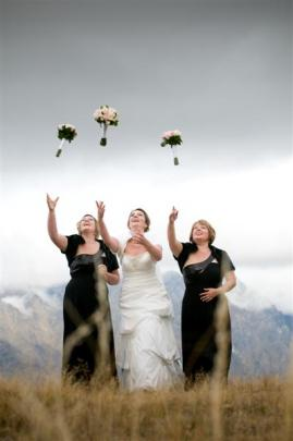 Dianne Blackford with her bridesmaids. She married Kevin Rudd at Gantley's in Queenstown in May....