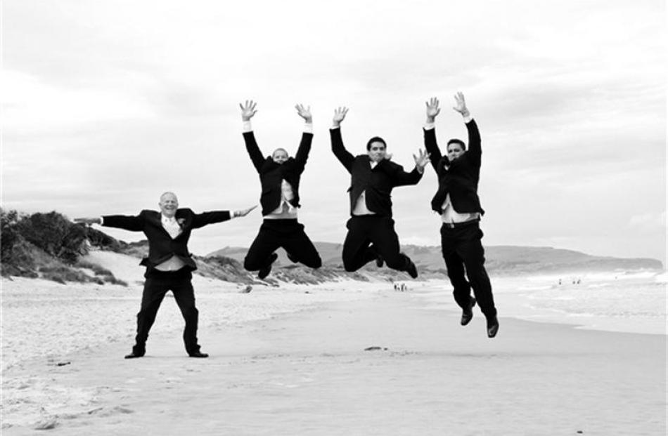 Regan Turoa and his attendants. Regan married Amy Edwards at Dunedin Botanic Garden in February....