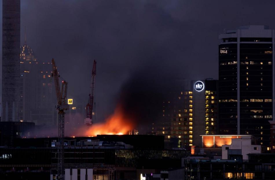 Firefighters battled the blaze through the night. Photo: NZ Herald