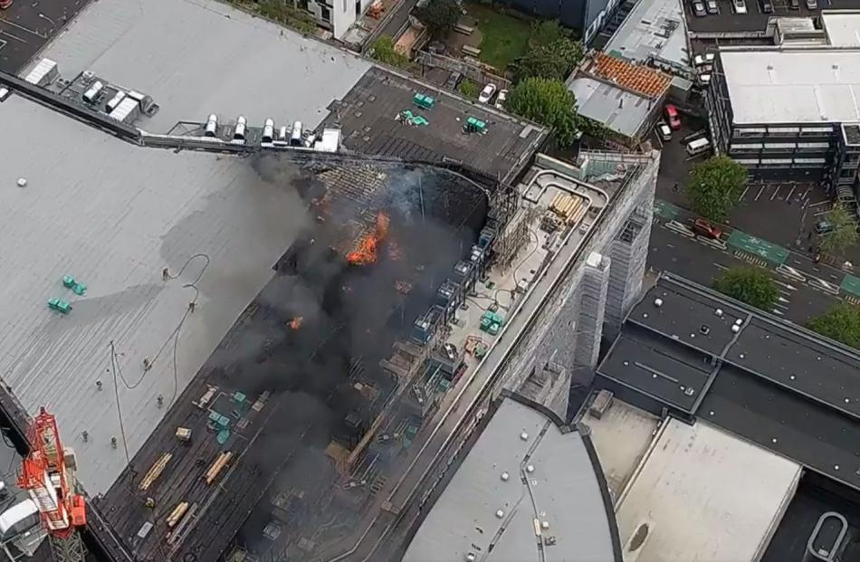 An aerial view of the fire yesterday. Photo: Niwa via RNZ