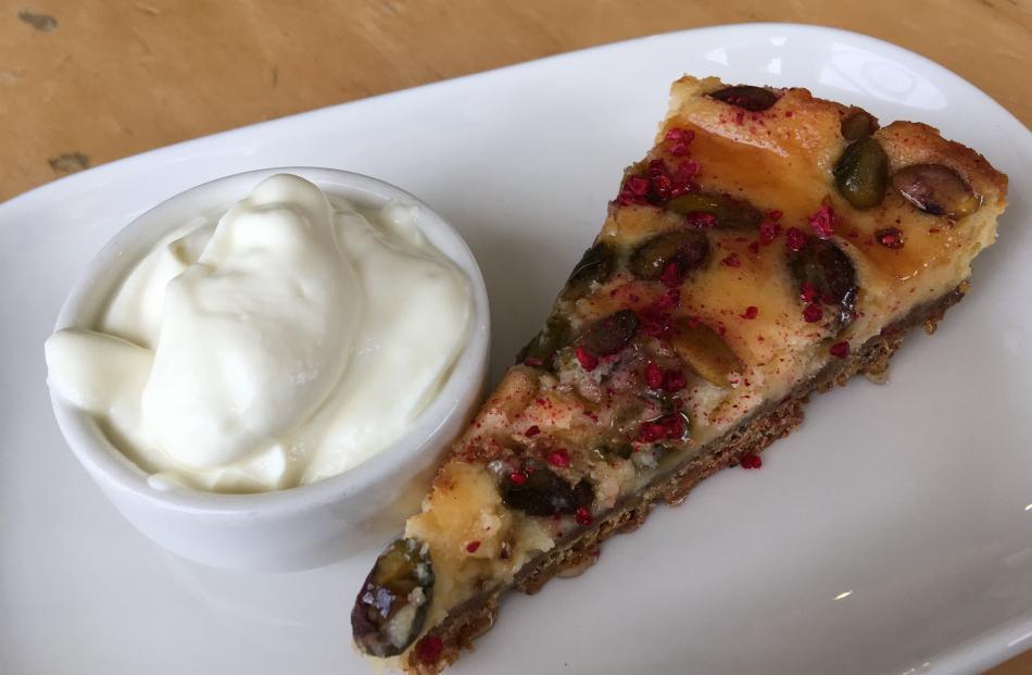 Honey pistachio cheesecake is ready to be enjoyed at Ranfurly's Maniototo Cafe. Photo: Pam Jones