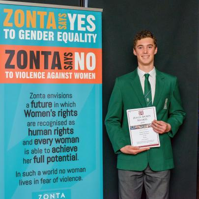 Nathan Van Slooten, Burnside High School, the award for contribution by a young man as an...