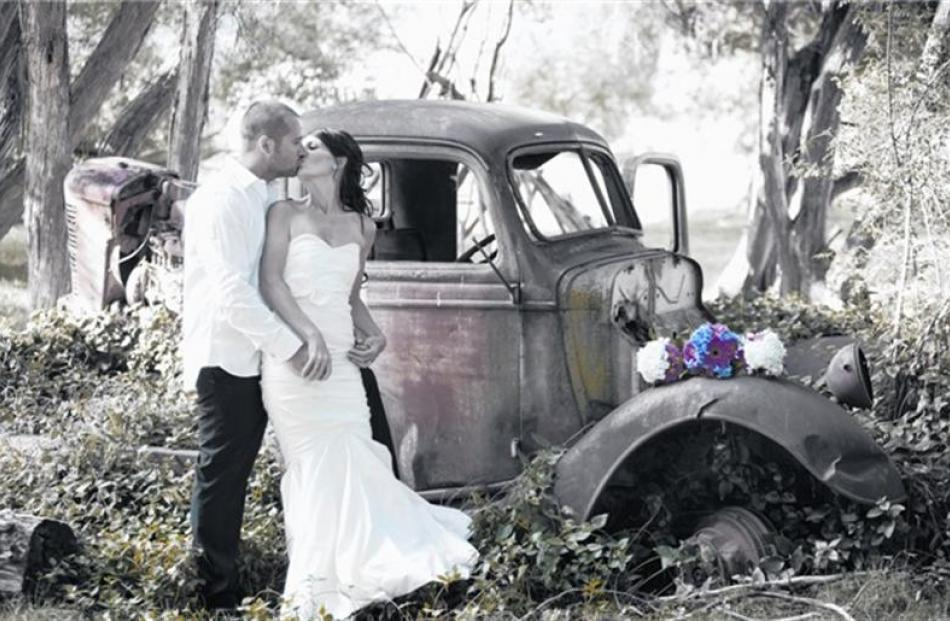 Amanda Smees and Simon Hawkins, who were married at Lookout Lodge, Wanaka, in March. Photo by...