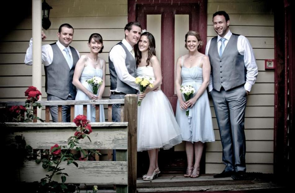 Amy King and Chris Blunden and their wedding party in March. Photo by Tim Hawkins.