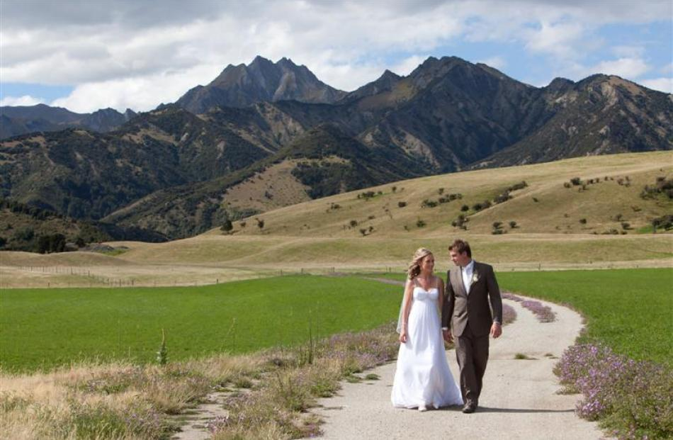 Brownwyn Simpson and Jacob Agnew after their marriage in Wanaka in January. Photo by Lisa Davidson.