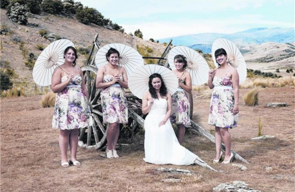 Stacey Butcher and her attendants. She married Mike at Bendigo, Tarras, last year. Photo by Emily...