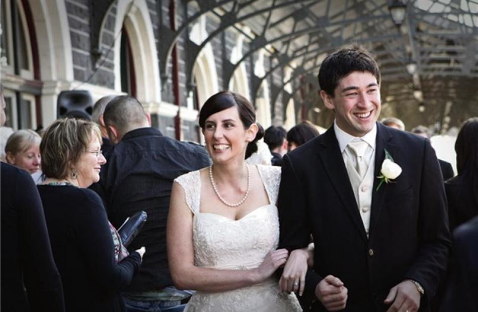 Tami Beckingsale and Jason Sargent at their wedding at Dunedin Railway Station last September....