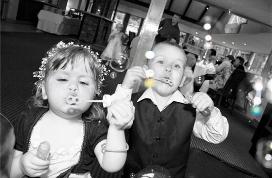 Bubble fun for the children of the bridal couple Georgina Hanrahan and Brendon Hampton,  who...