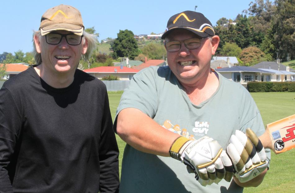 Oamaru Albion Cricket Club president Stephen Halliwell, of Oamaru, and Neville Holmes, of Nelson.
