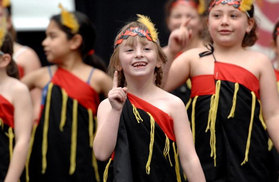 Callissa Campbell (7) performs with Mornington School.