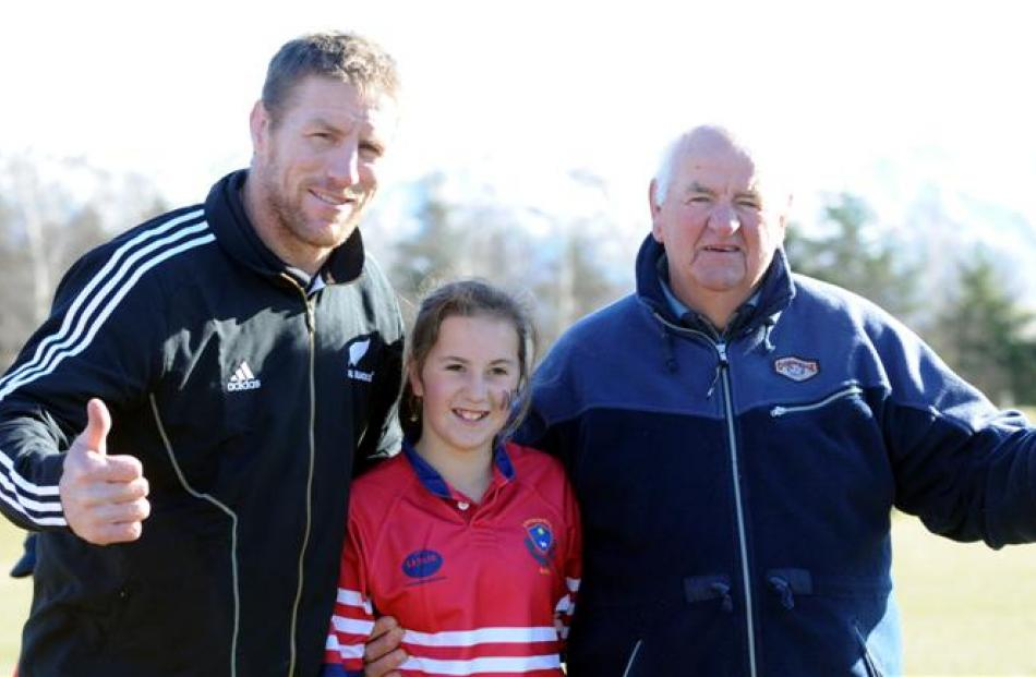 With Thorn are his first rugby coach, former All Black Don Clark, and Clark's granddaughter,...
